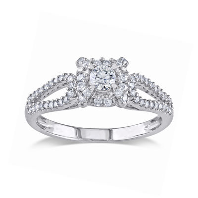 1/2 CT. T.W. Diamond 14K White Gold Halo Ring