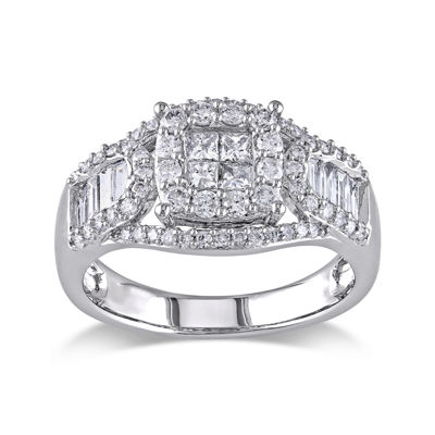 1-1/10 CT. T.W. Diamond 14K White Gold Quad-Stone Center Ring