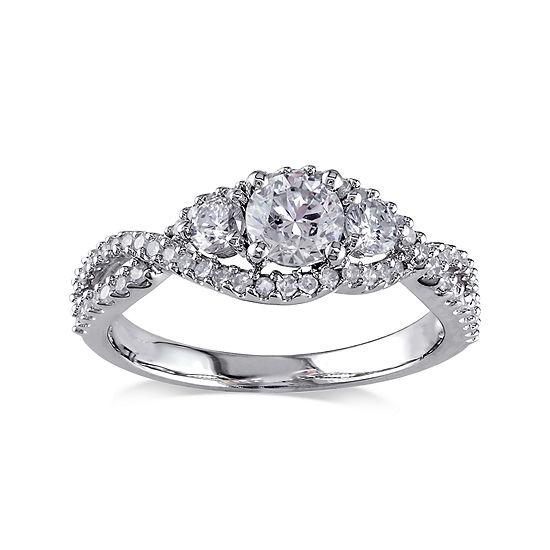 1 CT. T.W. Diamond 14K White Gold 3-Stone Ring
