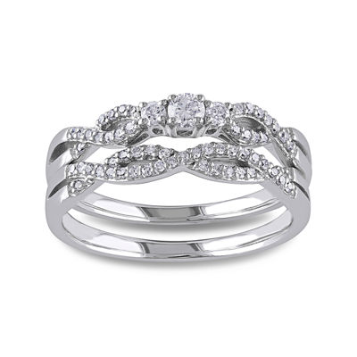 1/3 CT. T.W. Diamond 10K White Gold Twist Bridal Ring Set