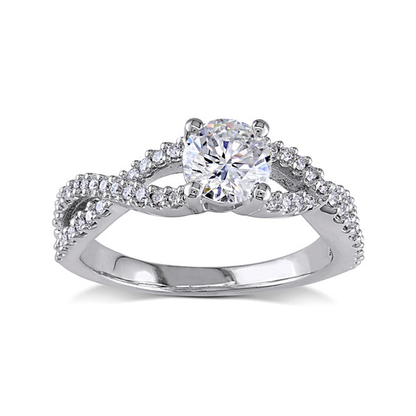 1 CT. T.W. Diamond 14K White Gold Twist Sides Ring