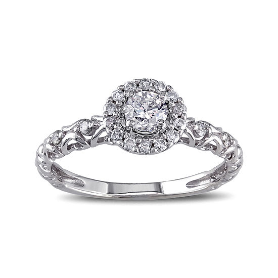 1/2 CT. T.W. Diamond 14K White Gold Filigree Ring