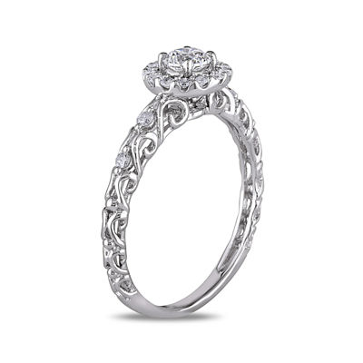 1/2 CT. T.W. Diamond 14K White Gold Filigree Ring