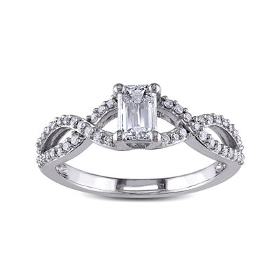 4/5 CT. T.W. Diamond 14K White Gold Emerald-Cut Crossover Ring