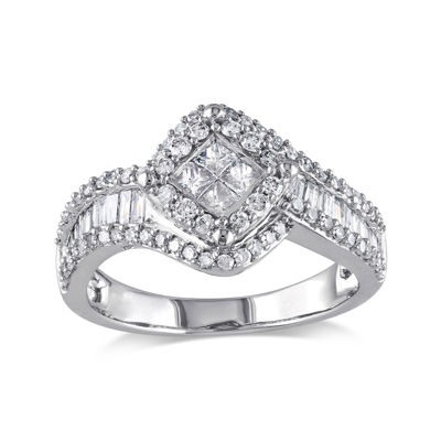 1 CT. T.W. Diamond 14K White Gold Quad-Center Ring
