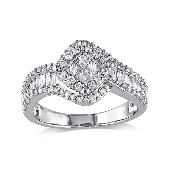 1 CT. T.W. Diamond 14K White Gold Quad-Center Ring