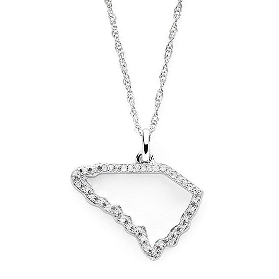 1/10 CT. T.W. Diamond Sterling Silver South Carolina State Pendant Necklace