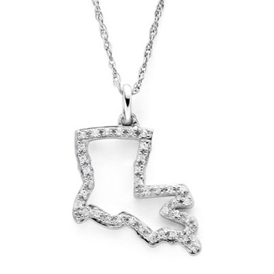 1/10 CT. T.W. Diamond Sterling Silver Louisiana State Pendant Necklace