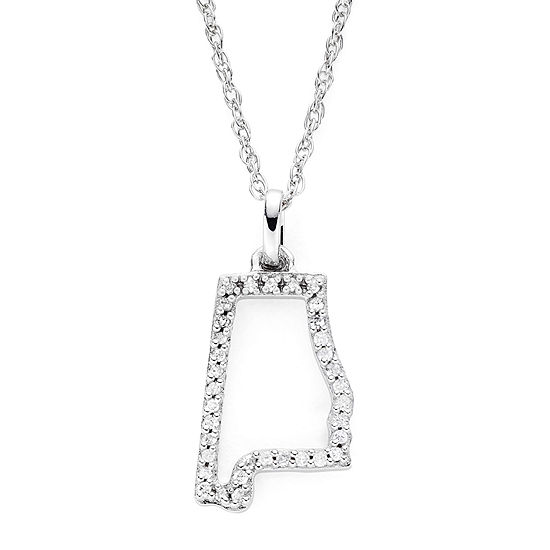 1/10 CT. T.W. Diamond Sterling Silver Alabama State Pendant Necklace