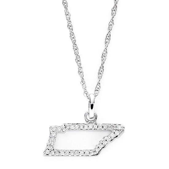 1/10 CT. T.W. Diamond Sterling Silver Tennessee State Pendant Necklace