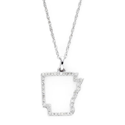 1/10 CT. T.W. Diamond Sterling Silver Arkansas State Pendant Necklace