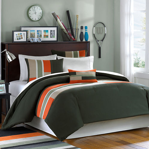 Mi Zone Circuit Olive Green Comforter Set