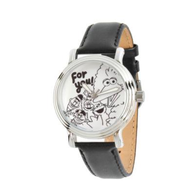 Sesame Street Womens Black Strap Watch-Wss000010