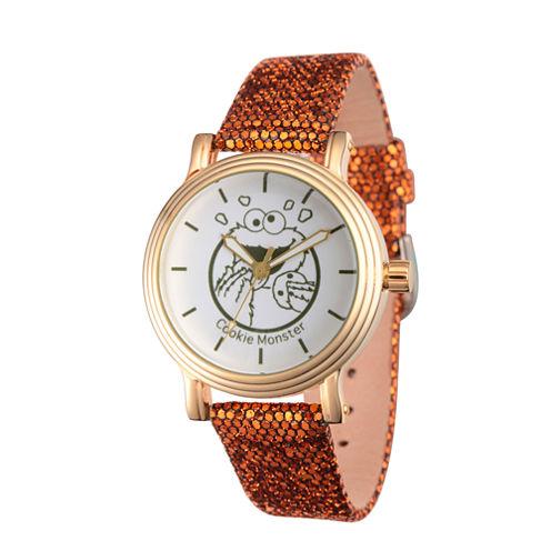 Sesame Street Womens Brown Strap Watch-Wss000012