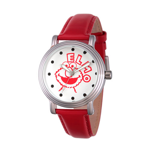 Sesame Street Womens Red Strap Watch-Wss000016