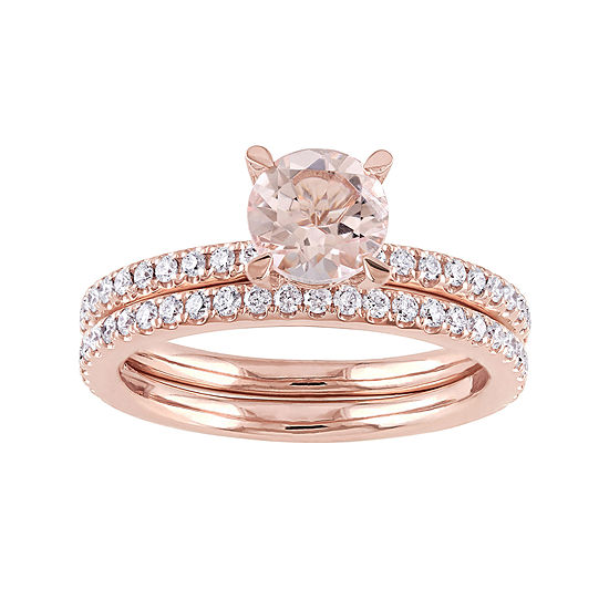 5/8 CT. T.W. Pink Morganite 14K Gold Bridal Set