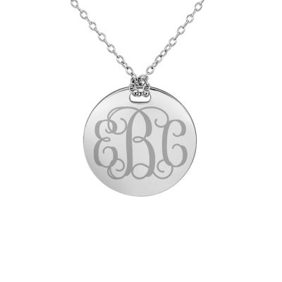 Personalized Sterling Silver 19mm Round Monogram Pendant Necklace