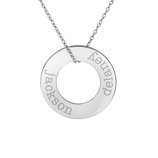 Personalized Sterling Silver 26mm Circle Couple's Name Pendant Necklace