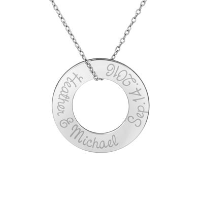 Personalized Sterling Silver 26mm Circle Couple's Name & Date Pendant Necklace