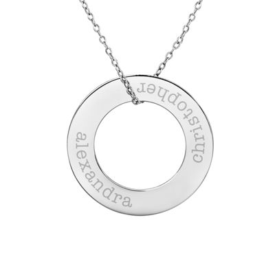 Personalized Sterling Silver 29mm Circle Couple's Name Pendant Necklace