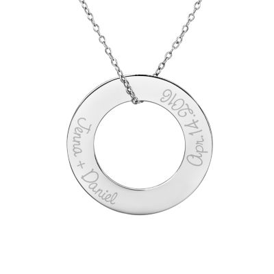 Personalized Sterling Silver 29mm Circle Couple's Name & Date Pendant Necklace