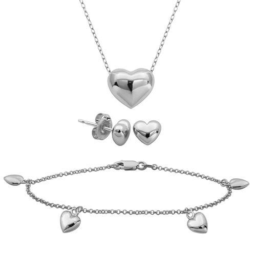 Sterling Silver Heart 3-pc. Jewelry Set
