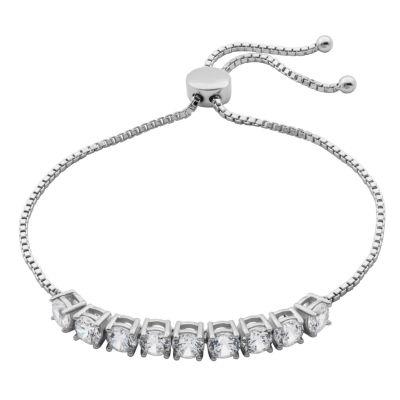 Diamonart Sterling Silver 3/4 CT. T.W. Cubic Zirconia Bolo Bracelet