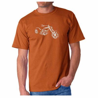 Los Angeles Pop Art Motorcycle Short Sleeve Word Art T-Shirt