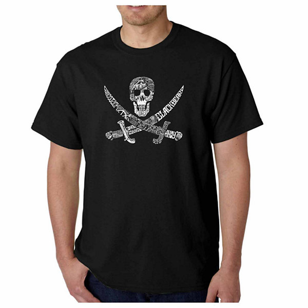 Los Angeles Pop Art Pirate Captains Ships and Imagery Short Sleeve Word Art T-Shirt