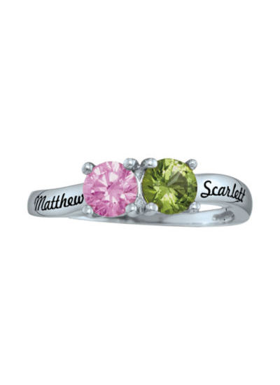 Personalized Simulated Birthstones Couples Ring