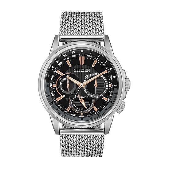 Citizen Calendrier Mens Silver Tone Stainless Steel Bracelet Watch-Bu2020-70e