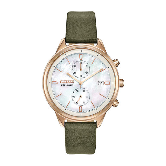 Citizen Chandler Womens Chronograph Green Strap Watch-Fb2008-01d