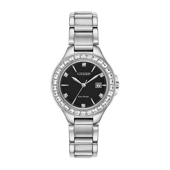Citizen Silhouette Crystal Womens Crystal Accent Silver Tone Stainless Steel Bracelet Watch - Fe1190-53e