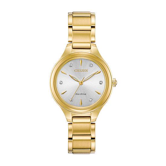 Citizen Womens Gold Tone Bracelet Watch-Fe2102-55a