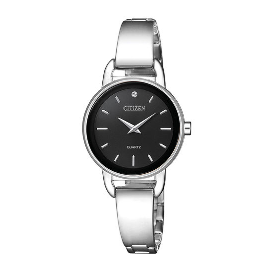 Citizen Quartz Assortment Womens Crystal Accent Silver Tone Stainless Steel Bangle Watch-Ez6370-56e
