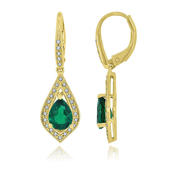 Lab Created Green Emerald 14K Gold Over Silver Drop Earrings