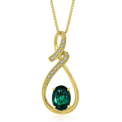 Womens Lab Created Green Emerald 14K Gold Over Silver Pendant Necklace
