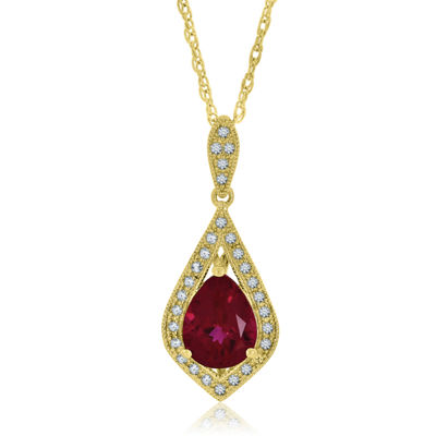 Womens Lab Created Red Ruby 14K Gold Over Silver Pendant Necklace