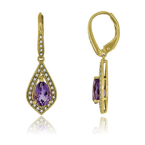 Genuine Purple Amethyst Sterling Silver Pear Drop Earrings