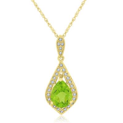 Womens Genuine Green Peridot Pear Pendant Necklace