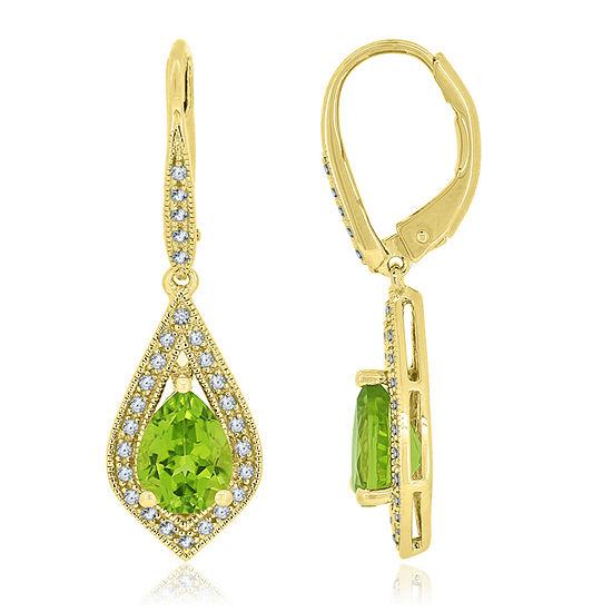 Genuine Green Peridot 14K Gold Over Silver Pear Drop Earrings