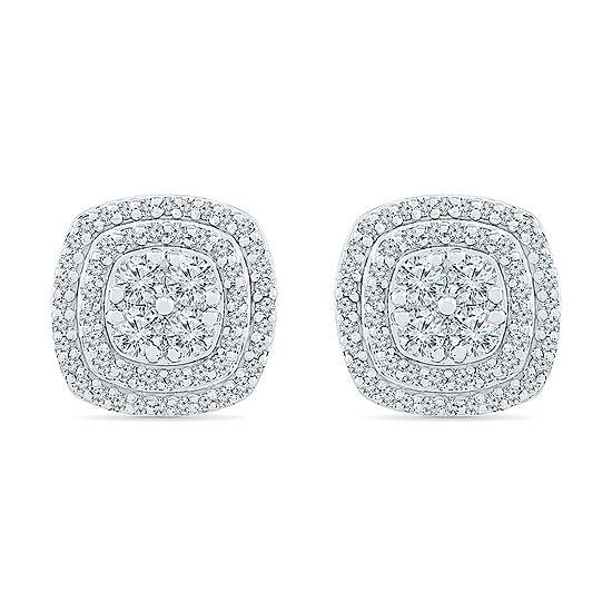 Diamond Blossom 1 CT. T.W. Genuine Diamond 10K White Gold 11.4mm Stud Earrings