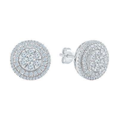 Diamond Blossom 1 CT. T.W. Genuine Diamond 10K White Gold 12mm Stud Earrings