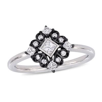 Womens 1/3 CT. T.W. Genuine White Diamond 10K White Gold Cocktail Ring