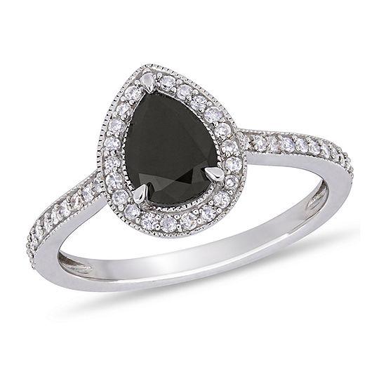 Midnight Black Womens 1 1/5 CT. T.W. Genuine Black Diamond 10K White Gold Engagement Ring