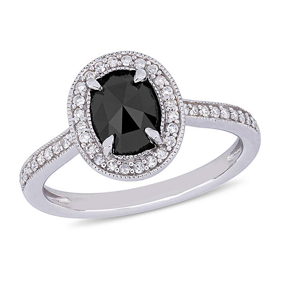 Midnight Black Womens 1 1/6 CT. T.W.  Genuine Black Diamond 10K White Gold Engagement Ring