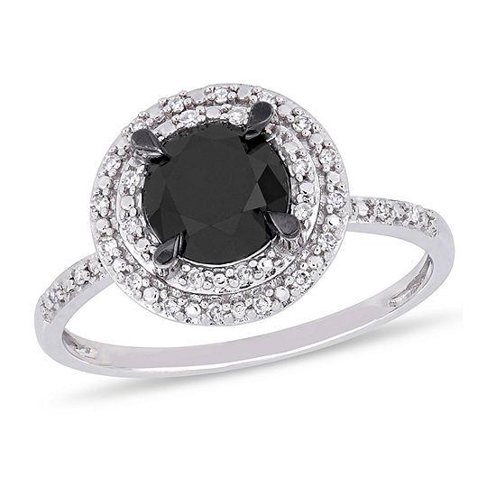 Midnight Black Womens 1 5/8 CT. T.W. Genuine Black Diamond 14K White Gold Engagement Ring