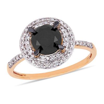Midnight Black Womens 1 5/8 CT. T.W. Genuine Black Diamond 14K Rose Gold Engagement Ring