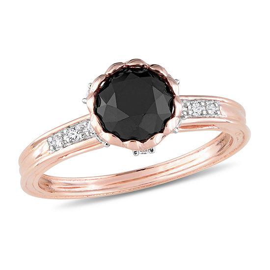 Midnight Black Womens 1 5/8 CT. T.W. Genuine Black Diamond 10K Rose Gold Engagement Ring