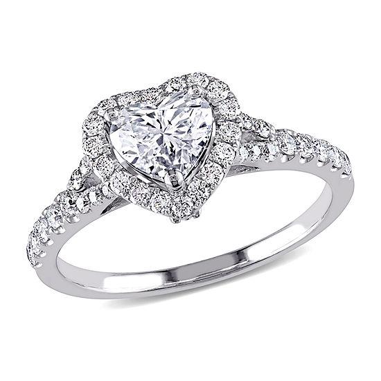 Womens 1 1/10 CT. T.W.  Genuine White Diamond 14K White Gold Engagement Ring
